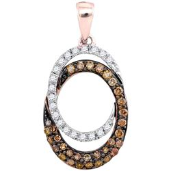 1/2 CTW Womens Round Brown Diamond Double Oval Pendant 10kt Rose Gold - REF-32N7A