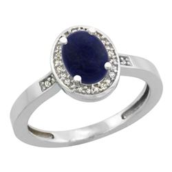 0.90 CTW Lapis Lazuli & Diamond Ring 14K White Gold - REF-37H3M