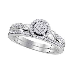 1/5 CTW Round Diamond Bridal Wedding Ring Band Set 10kt White Gold - REF-24F5W