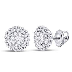 1 CTW Womens Round Diamond Halo Cluster Earrings 14kt White Gold - REF-92F3W