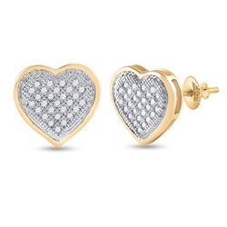 1/6 CTW Womens Round Diamond Heart Cluster Earrings 10kt Yellow Gold - REF-20Y5N