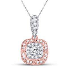 3/8 CTW Womens Round Diamond Cushion Halo Pendant 14kt Two-tone Gold - REF-37N5A