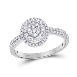 1/2 CTW Womens Round Diamond Cluster Ring 10kt White Gold - REF-32Y6N