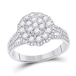 7/8 CTW Womens Round Diamond Halo Flower Cluster Ring 14kt White Gold - REF-85Y8N