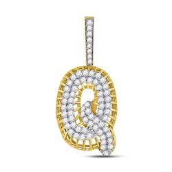 1 & 1/3 CTW Mens Round Diamond Q Letter Charm Pendant 10kt Yellow Gold - REF-79F3W