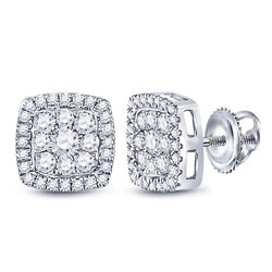 3/4 CTW Womens Round Diamond Square Cluster Earrings 14kt White Gold - REF-62R6X