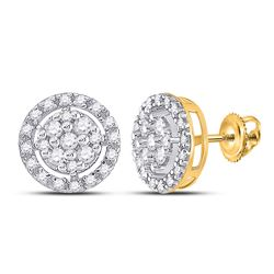1/5 CTW Womens Round Diamond Circle Cluster Earrings 10kt Yellow Gold - REF-19R2X