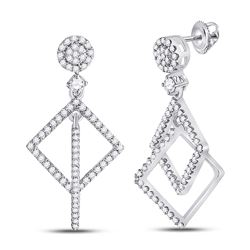 3/8 CTW Womens Round Diamond Diagonal Square Dangle Earrings 10kt White Gold - REF-29A9M