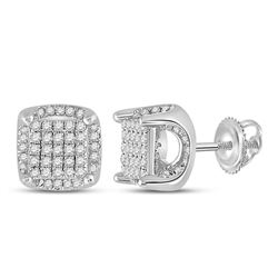 1/2 CTW Womens Round Diamond Square Earrings 10kt White Gold - REF-24A5M