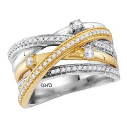 1/2 CTW Womens Round Diamond Crossover Band Ring 14kt Two-tone White Yellow Gold - REF-88V5Y