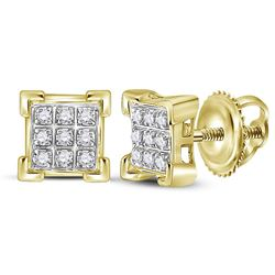 1/20 CTW Womens Round Diamond Square Cluster Earrings 10kt Yellow Gold - REF-10W3H