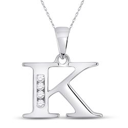 1/20 CTW Womens Round Diamond K Initial Letter Pendant 10kt White Gold - REF-12N2A