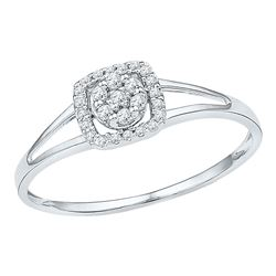 1/10 CTW Womens Round Diamond Square Frame Cluster Ring 10kt White Gold - REF-15W2H