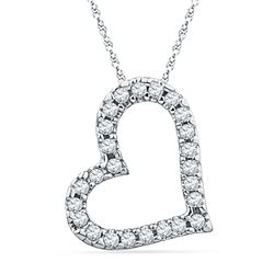 1/10 CTW Womens Round Diamond Heart Pendant 10kt White Gold - REF-8A3M