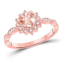 3/4 CTW Womens Round Morganite Starburst Solitaire Ring 10kt Rose Gold - REF-34M3F