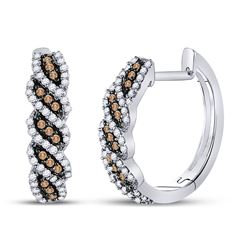 5/8 CTW Womens Round Brown Diamond Hoop Earrings 10kt White Gold - REF-47V6Y