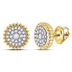 1/4 CTW Womens Round Diamond Beaded Halo Cluster Earrings 10kt Yellow Gold - REF-27N3A