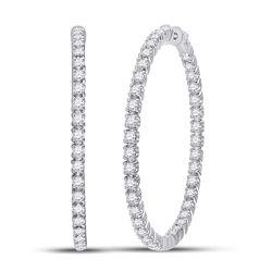 5 & 1/4 CTW Womens Round Diamond Hoop Earrings 14kt White Gold - REF-477Y2N
