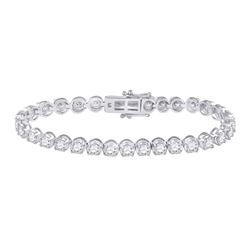 7 CTW Womens Round Diamond Tennis Bracelet 14kt White Gold - REF-596V7Y