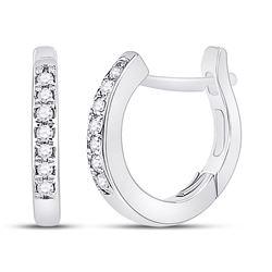 1/20 CTW Womens Round Diamond Huggie Hoop Earrings 10kt White Gold - REF-15H2R