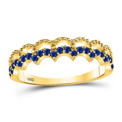 1/4 CTW Womens Round Blue Sapphire Scalloped Stackable Band Ring 10kt Yellow Gold - REF-15N2A