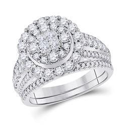 1 & 1/2 CTW Princess Diamond Bridal Wedding Ring 14kt White Gold - REF-156R7X