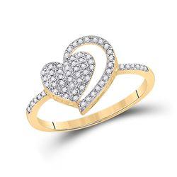 1/5 CTW Womens Round Diamond Heart Ring 10kt Yellow Gold - REF-16F4W