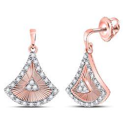 1/5 CTW Womens Round Diamond Blade Dangle Earrings 10kt Rose Gold - REF-31V4Y