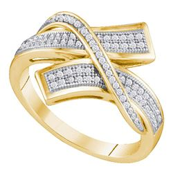 1/4 CTW Womens Round Pave-set Diamond Crossover Bypass Band Ring 10kt Yellow Gold - REF-23T7V