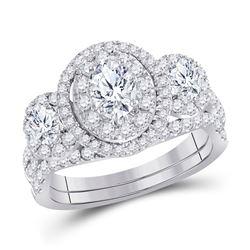 1 & 1/2 CTW Oval Diamond Bridal Wedding Ring 14kt White Gold - REF-190F8W
