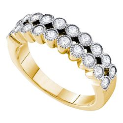 3/4 CTW Womens Round Diamond Milgrain Band Ring 14kt Yellow Gold - REF-81H7R