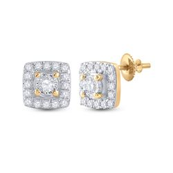 1/5 CTW Womens Round Diamond Square Earrings 10kt Yellow Gold - REF-20A5M