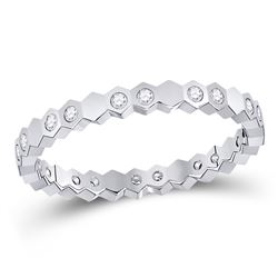 1/5 CTW Womens Round Diamond Machine-Set Band Ring 14kt White Gold - REF-24W5H