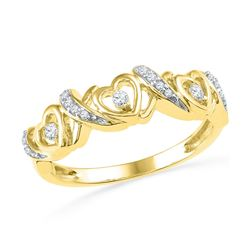 1/8 CTW Womens Round Diamond Heart Band Ring 10kt Yellow Gold - REF-23N9A