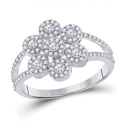 1/2 CTW Womens Round Diamond Cluster Ring 10kt White Gold - REF-36N2A