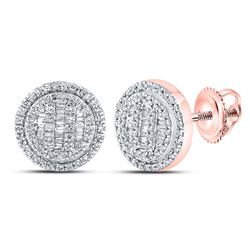 1/2 CTW Mens Baguette Diamond Circle Cluster Earrings 10kt Rose Gold - REF-38V2Y