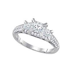 1 CTW Princess Diamond 3-stone Bridal Wedding Engagement Ring 14kt White Gold - REF-129Y5N