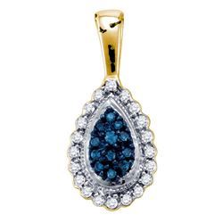 1/6 CTW Womens Round Blue Color Enhanced Diamond Teardrop Pendant 10kt Yellow Gold - REF-13R5X