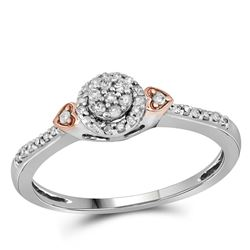 1/6 CTW Womens Round Diamond Cluster Double Heart Ring 10kt Two-tone Gold - REF-21R2X