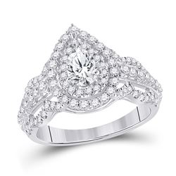 1 & 1/3 CTW Pear Diamond Solitaire Bridal Wedding Engagement Ring 14kt White Gold - REF-204W5H