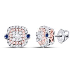 1/2 CTW Womens Round Diamond Square Halo Earrings 10kt Two-tone Gold - REF-44X4T