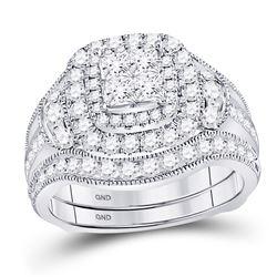 2 CTW Princess Diamond Milgrain Ring 14kt White Gold - REF-204A5M