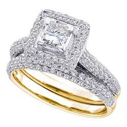 1 & 1/4 CTW Princess Diamond Halo Bridal Wedding Ring 14kt Yellow Gold - REF-160Y3N