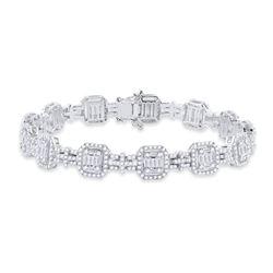 3 & 1/2 CTW Womens Baguette Diamond Square Link Bracelet 14kt White Gold - REF-381M8F