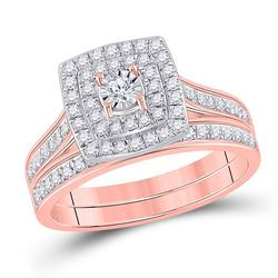 1/2 CTW Round Diamond Halo Bridal Wedding Ring 10kt Rose Gold - REF-53W3H