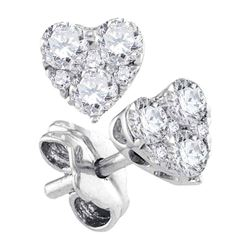 1/2 CTW Womens Round Diamond Heart Earrings 10kt White Gold - REF-37H5R