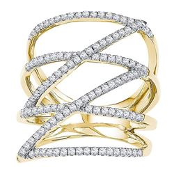 1/2 CTW Womens Round Diamond Crossover Strand Fashion Band Ring 10kt Yellow Gold - REF-40M8F
