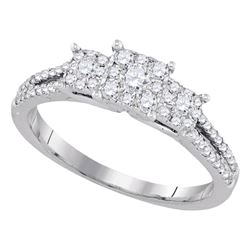 1/2 CTW Round Diamond 3-stone Bridal Wedding Engagement Ring 14kt White Gold - REF-65N4A