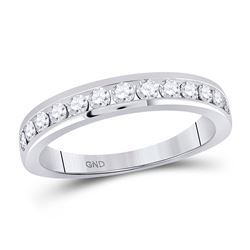 1/2 CTW Womens Round Diamond Wedding Single Row Band Ring 14kt White Gold - REF-54V5Y
