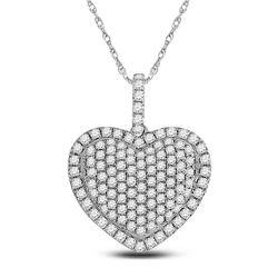 1 & 1/4 CTW Womens Round Diamond Heart Pendant 14kt White Gold - REF-78R5X
